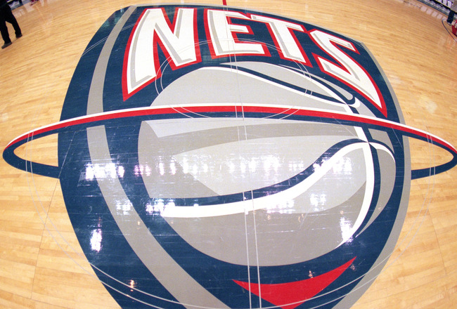 EAST RUTHERFORD, NJ - FEBUARY 24:  A general view of the New Jersey Nets logo on the center court during a game between the New Jersey Nets and the Portland Trail Blazers at the Continental Airlines Arena on Febuary 24, 1999 in East Rutherford, New Jersey