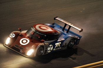 DAYTONA BEACH, FL - JANUARY 30:  The #02 Target/Telemax BMW Riley driven by drivers Scott Dixon, Juan Pablo Montoya, Dario Franchitti & Jamie McMurray looses an engine during the Grand-Am Rolex 24 at Daytona held at Daytona International Speedway on Janua
