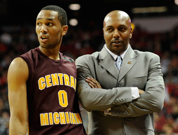 LAS VEGAS, NV - DECEMBER 30:  Trey Zeigler #0 of the Central Michigan Chippewas talks to his father, head coach Ernie Zeigler, during their game against the UNLV Rebels at the Thomas & Mack Center December 30, 2010 in Las Vegas, Nevada. UNLV won 73-47.  (