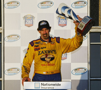MONTREAL, QC - AUGUST 29:  Boris Said, driver of the #09 Zaxby's/PFC Ford, celebrates in victory lane after winning the NAPA Auto Parts 200 at Circuit Gilles-Villeneuve on August 29, 2010 in Montreal, Canada.  (Photo by Geoff Burke/Getty Images)