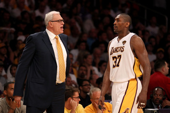 LOS ANGELES, CA - JUNE 06:  Head coach Phil Jackson yells at Ron Artest #37 of the Los Angeles Lakers in the second half against the Boston Celtics in Game Two of the 2010 NBA Finals at Staples Center on June 6, 2010 in Los Angeles, California. NOTE TO US