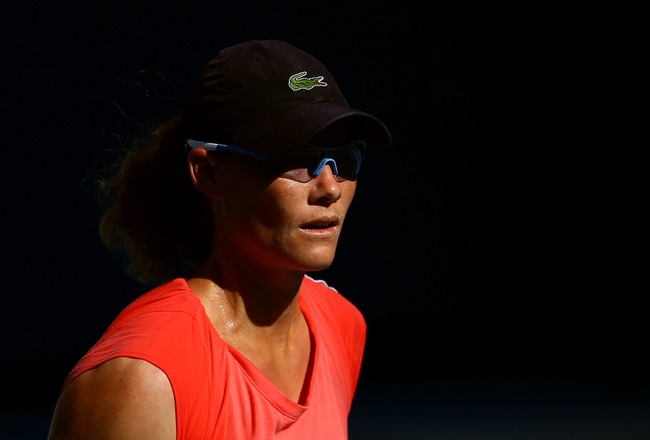 MELBOURNE, AUSTRALIA - JANUARY 15:  Sam Stosur of Australia looks on during a practice session ahead of the 2011 Australian Open at Melbourne Park on January 15, 2011 in Melbourne, Australia.  (Photo by Julian Finney/Getty Images)