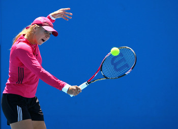 MELBOURNE, AUSTRALIA - JANUARY 19:  Alicia Molik  of Australia plays a backhand during a training session ahead of her second round match tomorrow during day three of the 2011 Australian Open at Melbourne Park on January 19, 2011 in Melbourne, Australia.