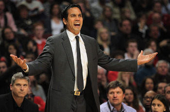 CHICAGO, IL - JANUARY 15:  Head coach Erik Spoelstra of the Miami Heat reacts to a call as he leads the Heat against the Chicago Bulls at the United Center on January 15, 2011 in Chicago, Illinois. NOTE TO USER: User expressly acknowledges and agrees that
