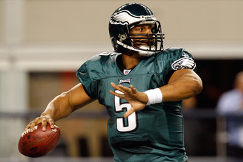 ARLINGTON, TX - JANUARY 03:  Quarterback Donovan McNabb #5 of the Philadelphia Eagles throws against the Dallas Cowboys at Cowboys Stadium on January 3, 2010 in Arlington, Texas.  (Photo by Ronald Martinez/Getty Images)