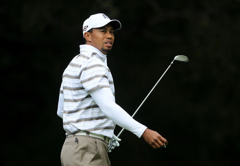THOUSAND OAKS, CA - DECEMBER 4:  Tiger Woods watches his tee shot on the sixth hole during round three of the Chevron World Challenge at Sherwood Country Club on December 4, 2010 in Thousand Oaks, California.  (Stephen Dunn/Getty Images)