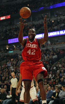CHICAGO, IL - DECEMBER 21: Elton Brand #42 of the Philadelphia 76ers looses control of the ball against the Chicago Bulls at the United Center on December 21, 2010 in Chicago, Illinois. The Bulls defeated the 76ers 121-76. NOTE TO USER: User expressly ack