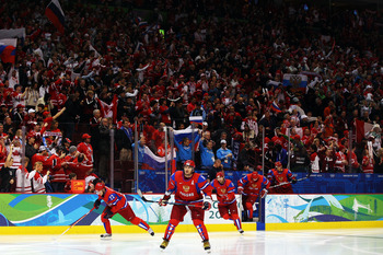 VANCOUVER, BC - FEBRUARY 24:  Alexander Ovechkin #8 of Russia leads the team out on the ice before taking on Canada during the ice hockey men's quarter final game between Russia and Canada on day 13 of the Vancouver 2010 Winter Olympics at Canada Hockey P