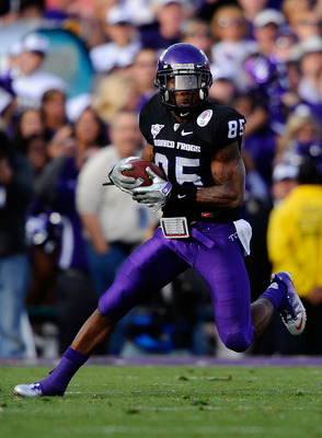 PASADENA, CA - JANUARY 01:  Wide receiver Jeremy Kerley #85 of the TCU Horned Frogs runs with the ball against the Wisconsin Badgers in the 97th Rose Bowl game on January 1, 2011 in Pasadena, California.  (Photo by Kevork Djansezian/Getty Images)