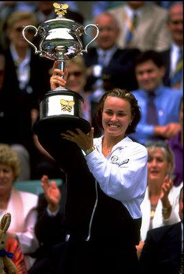 30 Jan 1999:  Martina Hingis of Switzerland celebrates with the trophy after winning the Australian Open at Melbourne Park in Australia.  \ Mandatory Credit: Clive Brunskill /Allsport