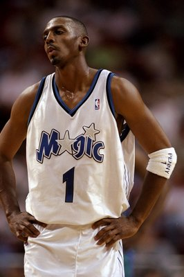23 Mar 1999:  Anfernee Hardaway #1 of the Orlando Magic looking on during the game against the Charlotte Hornets at the Orlando Arena in Orlando, Florida. The Magic defeated the Hornets 86-78.   Mandatory Credit: Andy Lyons  /Allsport