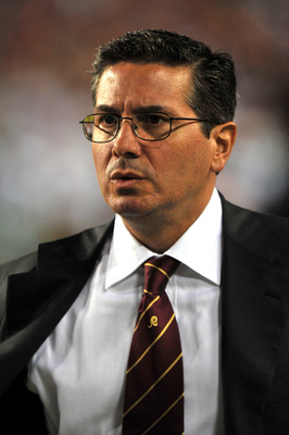 LANDOVER - SEPTEMBER 12:  Owner Daniel Snyder of the Washington Redskins walks the sidelines before the NFL season opener against the Dallas Cowboys at FedExField on September 12, 2010 in Landover, Maryland. The Redskins defeated the Cowboys 13-7. (Photo