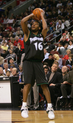 PHILADELPHIA - DECEMBER 8:  Troy Hudson #16 of the Minnesota Timberwolves shoots against the Philadelphia 76ers during the game at the Wachovia Center on December 8, 2004 in Philadelphia, Pennsylvania.  The Wolves won 119-84. NOTE TO USER: User expressly