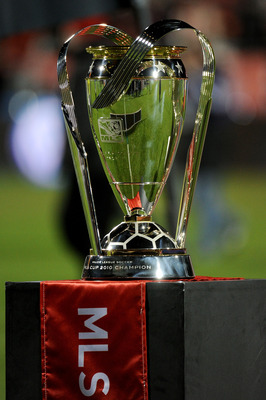 TORONTO, ON - NOVEMBER 21:  The Philip F. Anschutz Trophy is seen after the Colorado Rapids defeated FC Dallas 2-1 in overtime of the 2010 MLS Cup match at BMO Field on November 21, 2010 in Toronto, Canada.  (Photo by Harry How/Getty Images)