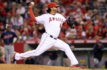 ANAHEIM, CA - SEPTEMBER 07:  Francisco Rodriguez #45 of the Los Angeles Angels of Anaheim pitches against the Cleveland Indians in the game at Angel Stadium on September 7, 2010 in Anaheim, California.  (Photo by Jeff Gross/Getty Images)