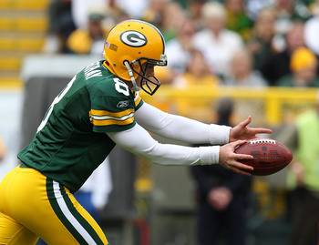 GREEN BAY, WI - SEPTEMBER 19: Tim Masthay #8 of the Green Bay Packers punts the ball against the Buffalo Bills at Lambeau Field on September 19, 2010 in Green Bay, Wisconsin. The Packers defeated the Bills 34-7. (Photo by Jonathan Daniel/Getty Images)