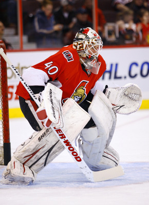 OTTAWA, ON - JANUARY 14:  Robin Lehner #40 of the Ottawa Senators defends his net during warmup before a game against the Calgary Flames at Scotiabank Place on January 14, 2011 in Ottawa, Canada. The Flames won 3-2. (Photo by Phillip MacCallum/Getty Image