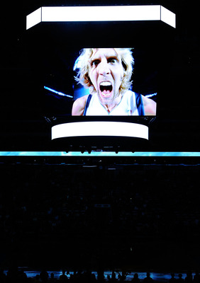 DALLAS, TX - JANUARY 04:  An image of Dirk Nowitzki #41 of the Dallas Mavericks is shown on the screen before a game against the Portland Trail Blazers at American Airlines Center on January 4, 2011 in Dallas, Texas.  NOTE TO USER: User expressly acknowle