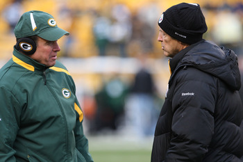 PITTSBURGH - DECEMBER 20: Defensive coordinator Dom Capers of the Green Bay Packers talks with Pittsburgh Steelers defensive coordinator Dick LeBeau prior to the game on December 20, 2009 at Heinz Field in Pittsburgh, Pennsylvania. (Photo by Karl Walter/G
