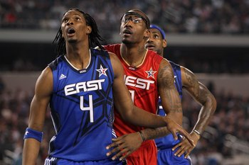 ARLINGTON, TX - FEBRUARY 14:  Chris Bosh #4 and LeBron James #23 of the Eastern Conference look on alongside Amar'e Stoudemire #1 of the Western Conference during the NBA All-Star Game, part of 2010 NBA All-Star Weekend at Cowboys Stadium on February 14,