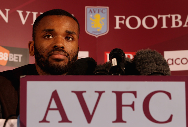 BIRMINGHAM, ENGLAND - JANUARY 18:  Darren Bent speaks to the media during a press conference to announce him signing for Aston Villa at Villa Park on January 18, 2011 in Birmingham, England.  (Photo by Scott Heavey/Getty Images)