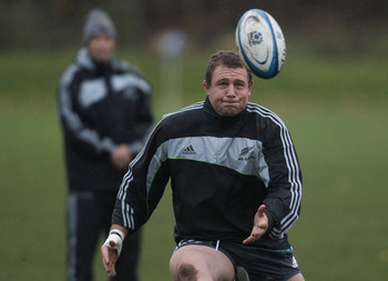 EDINBURGH, SCOTLAND - NOVEMBER 11:  Tony Woodcock of the All Blacks takes a pass during a New Zealand All Blacks Training Session at Peffermill on November 11, 2010 in Edinburgh, Scotland.  (Photo by Phil Walter/Getty Images)