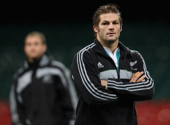 CARDIFF, WALES - NOVEMBER 26:  Richie McCaw of the All Blacks looks on during the New Zealand All Blacks Captains Run at Millennium Stadium on November 26, 2010 in Cardiff, Wales.  (Photo by Phil Walter/Getty Images)