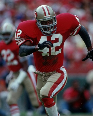 Sep 1988:  Strong safety Ronnie Lott of the San Francisco 49ers focuses on the ball as he follows in pursuit during a 49ers game at Candlestick Park in San Francisco, California.   Mandatory Credit: Allsport USA/ALLSPORT