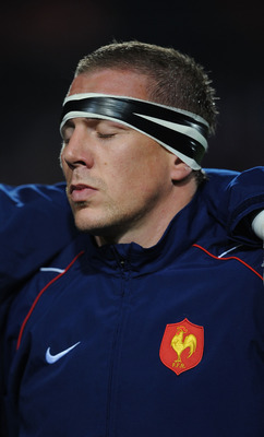 MONTPELLIER, FRANCE - NOVEMBER 20:  Imanol Harinordoquy of France during their national anthem during the International Friendly match between France and Argentina at the Stade de la Mosson on November 20, 2010 in Montpellier, France.  (Photo by Christoph