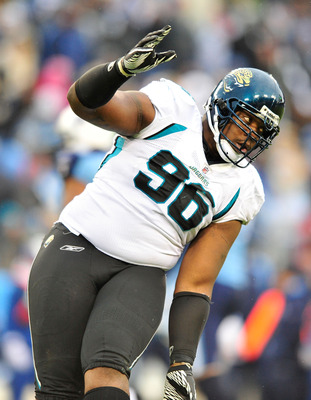 NASHVILLE, TN - DECEMBER 05:  Terrance Knighton #96 of the Jacksonville Jaguars dances back to the sideline after a turnover by the Tennessee Titans  during the first half at LP Field on December 5, 2010 in Nashville, Tennessee.  (Photo by Grant Halverson
