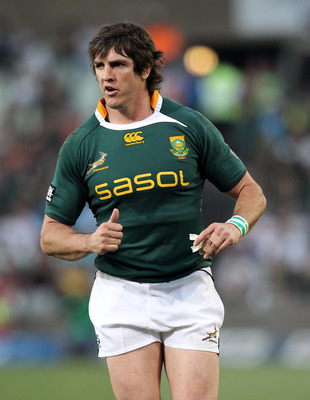 BLOEMFONTEIN, SOUTH AFRICA - SEPTEMBER 04: Jaque Fourie of the Springboks looks on during the 2010 Tri-Nations match between the South African Springboks and the Australian Wallabies at Vodacom Park on September 4, 2010 in Bloemfontein, South Africa.  (Ph