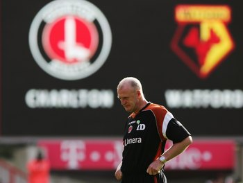 LONDON - OCTOBER 21:  Iain Dowie the Charlton Athletic manager, takes a coaching session before the Barclays Premiership match between Charlton Athletic and Watford at The Valley on October 21, 2006 in London, England.  (Photo by Phil Cole/Getty Images)