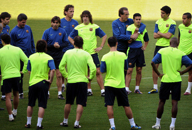 BARCELONA, SPAIN - APRIL 27:  Carles Puyol (C) of FC Barcelona stands with his teammates during a training session ahead of their UEFA Champions League semi final second leg match against Inter Milan at the Camp Nou stadium on April 27, 2010 in Barcelona,