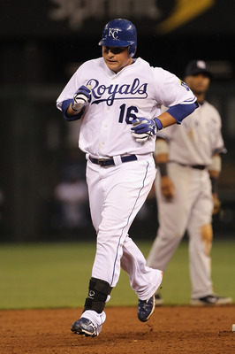 KANSAS CITY, MO - AUGUST 13:  Billy Butler #16 of the Kansas City Royals circles the bases after hitting a home run during the 5th inning of the game against the New York Yankees on August 13, 2010 at Kauffman Stadium in Kansas City, Missouri.  (Photo by