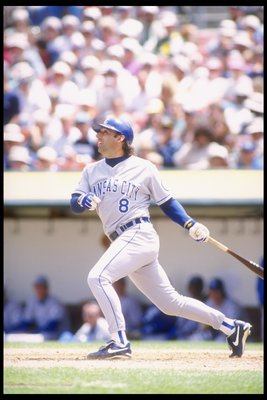 18 Jun 1995: Gary Gaetti of the Kansas City Royals swings at the ball during a game against the Oakland Athletics at the Oakland Coliseum in Oakland, California. The Athletics won the game 3-1.