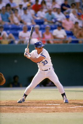 1990:  Kevin Seitzer #33 of the Kansas City Royals stands ready at the plate during a game in 1990.  (Photo by Rick Stewart/Getty Images)