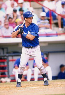 5 Mar 1998:  Mike Macfarlane #15 of the Kansas City Royals in action during a spring training game against the Toronto Blue Jays at the Grant Field in Dunedin, Florida. The Blue Jays defeated the Royals 3-2. Mandatory Credit: Tom Hauck  /Allsport