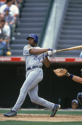 3 Jun 2001:  Jermaine Dye #24 of the Kansas City Royals swings and misses the ball during the game against the Anaheim Angels at Edison Field in Anaheim, California. The Angels defeated the 7-2.Mandatory Credit: Danny Moloshok  /Allsport