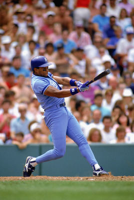 1990:  Danny Tartabull of the Kansas City Royals swings at the pitch during a MLB game in the 1990 season. (Photo by: Otto Greule Jr/Getty Images)