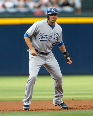 ATLANTA - JUNE 19:  David DeJesus #9 of the Kansas City Royals against the Atlanta Braves at Turner Field on June 19, 2010 in Atlanta, Georgia.  (Photo by Kevin C. Cox/Getty Images)
