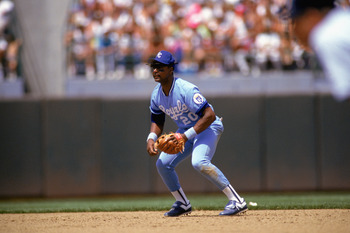 1990:  Frank White of the Kansas City Royals gets ready to move for the ball during a MLB game in the 1990 season. ( Photo by: Otto Greule Jr/Getty Images)