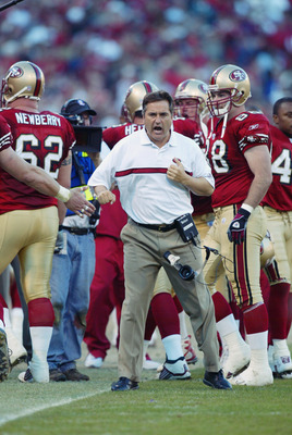 SAN FRANCISCO - JANUARY 5:  Head coach Steve Mariucci of the San Fransisco 49ers celebrates after Jeff Garcia's touchdown in the fourth quarter against the New York Giants in the NFC Wild Card game at 3Com Park on January 5, 2003 in San Francisco, Califor