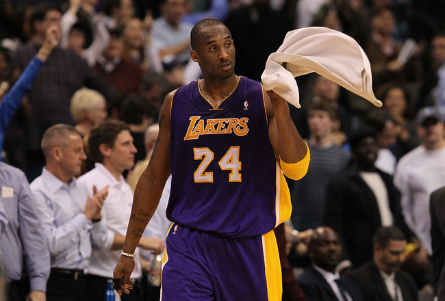 DALLAS, TX - JANUARY 19:  Guard Kobe Bryant #24 of the Los Angeles Lakers walks off the court after a 100-109 loss against the Dallas Mavericks at American Airlines Center on January 19, 2011 in Dallas, Texas.  NOTE TO USER: User expressly acknowledges an