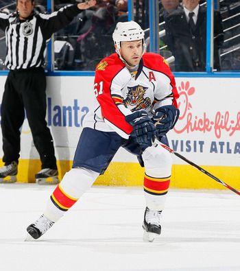 ATLANTA - NOVEMBER 17:  Cory Stillman #61 of the Florida Panthers against the Atlanta Thrashers at Philips Arena on November 17, 2010 in Atlanta, Georgia.  (Photo by Kevin C. Cox/Getty Images)