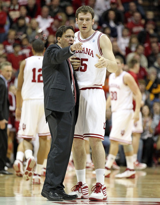 Coach Crean speaks with forward Tom Pritchard
