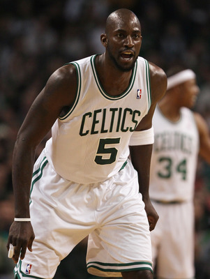 BOSTON, MA - JANUARY 17:  Kevin Garnett #5 of the Boston Celitcs makes a start in the game against the Orlando Magic on January 17, 2011 at the TD Garden in Boston, Massachusetts. Garnett missed several weeks due to a knee injury. NOTE TO USER: User expre