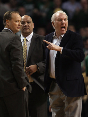 BOSTON, MA - JANUARY 05:  Head coach Gregg Popovich of the San Antonio Spurs reacts after he is called for a technical foul in the second half against the Boston Celtics on January 5, 2011 at the TD Garden in Boston, Massachusetts. The Celtics defeated th