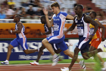 SPLIT, CROATIA - SEPTEMBER 04: Christophe Lemaitre (c) of France and Team Europe wins the men's 100m from Daniel Bailey (r) of Antigua and Team Americas during the IAAF/VTB Continental Cup at the Stadion Poljud on September 4, 2010 in Split, Croatia.  (Ph