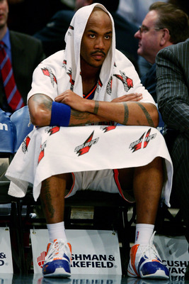 NEW YORK - NOVEMBER 30:  Stephon Marbury #3 of the New York Knicks watches on from the bench against the Milwaukee Bucks on November 30, 2007 at Madison Square Garden in New York City. NOTE TO USER: User expressly acknowledges and agrees that, by download