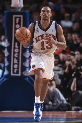 1 Dec 2001:  Point guard Mark Jackson #13 of the New York Knicks dribbles the ball during the NBA game against the Detroit Pistons at Madison Square Garden in New York City, New York. The Pistons defeated the Knicks 100-97.  NOTE TO USER:  User expressly